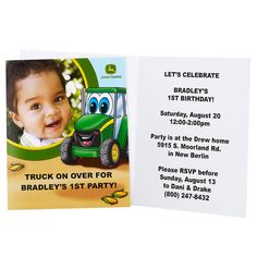 Johnny Tractor 1st Birthday - Personalized Invitations