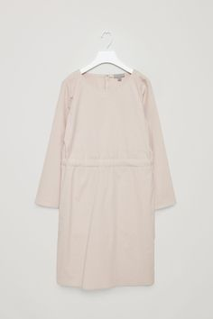COS image 2 of Dress with waist tie in Light Beige