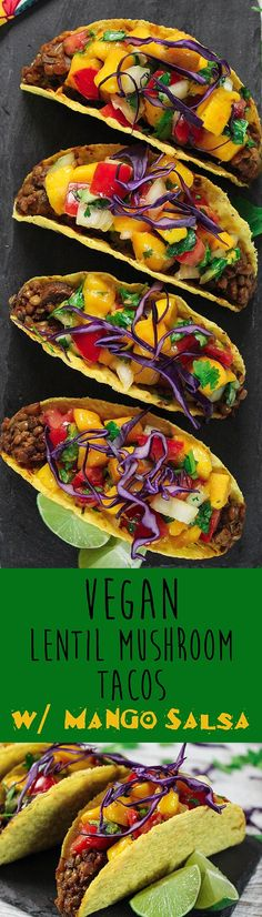 Lentil Mushroom Tacos w/ Mango Salsa - Vegan Huggs Taco night will never be the same after you try these Lentil Mushroom Tacos w/ Mango Salsa. They are sweet, savory and downright delicious! Vegan Dinner Recipes, Veggie Recipes, Mexican Food Recipes, Whole Food Recipes, Vegetarian Recipes, Cooking Recipes, Healthy Recipes, Easy Recipes, Mango Recipes Vegan