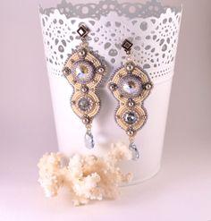 Long Wedding Earrings Crystal Beaded Jewelry Gift for Girlfriend Bead Embroidery Christmas Womens Gift Swarovski Crystal Earrings