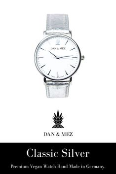 The Classic Silver is a vegan watch for men and women by DAN & MÉZ. The watch is hand made in Germany, runs with a swiss movement and features a vegan leather strap made from recycled pineapple leaves. Rolex Watches, Watches For Men, Pineapple Leather, Everyday Outfits, Timeless Design, Vegan Leather, Dan, Germany, Leaves