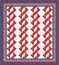 """Week37 'Around & Around' a fun baby quilt design using Dr Seuss fabric in red, white and blue. This is a very simple quilt to make and can easily be made by the beginning quilter. Each block is made using 12 half square triangles, 6 from each of two contrasting fabrics.    I constructed this quilt using 32 blocks each measuring 9"""" x 6"""" finished and placing a sashing vertically only. This makes the 'Cat In The Hat' look like he's climbing a wall or column. It almost gives it a 3-D effect."""