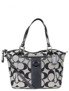 Authentic Coach Signature Stripe Pocket Convertible Tote Handbag 17948 Black White/Black $268.00