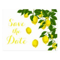 #savethedate #postcards - #Citrus Yellow Save the Date Lemon Green Engagement Postcard