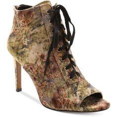 Nanette by Nanette Lepore Halle Lace-Up Peep-Toe Booties ($119) ❤ liked on Polyvore featuring shoes, boots, ankle booties, cognac multi, lace up booties, floral boots, floral lace up boots, peep toe booties and cognac boots
