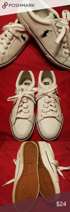 Polo Nice preloved Comfy Tennis Shoes.Good Condition Upper Leather.  Shoestrings Included. Polo by Ralph Lauren Shoes Athletic Shoes