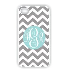 iPhone 4 Case - Tiffany Blue Monogram on Chevron  iPhone Case, iPhone 4s Case, Cases for iPhone 4, Hard iPhone 4 Case (iM3036). $19.99, via Etsy.
