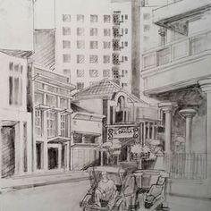 Bqnyak cara mencintai Bandung. Hasil gagambaran minggu pagi 27 des 2015, bareng anak dan rekan di jalan braga #drawing #art #braga #Bandung City Sketch, Sketches, Painting, Instagram, Faces, Painting Art, Draw, Paintings, Doodles