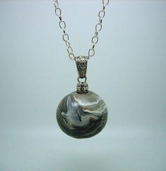 Custom Silver Pewter and White Ball Charm by ClayWorksbyTRhoads, $26.00