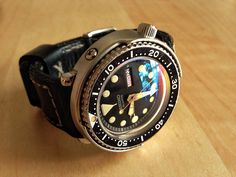 Vintage Seiko 'Tuna' diver with custom domed crystal.