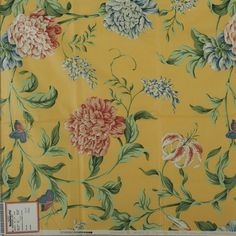 """Fabric Sample, Fasanarie Glazed Chintz, Yellow A sample of a Brunschwig & Fils Inc. fabric design, no. This is a screen print sample. The pattern is """"Fasanarie"""" and the fabric is dated MCMXCV The fabric is glazed cotton chintz. Fabric Samples, Fabric Design, Screen Printing, Interior Design, Bedroom, Yellow, Pattern, Cotton, Art"""