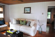 House by Holly...: Beach Bunker Tour... Painting knotty pine