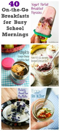 40 Grab-and-Go Breakfasts for Busy School Mornings. Fun ideas for portable breakfasts that you can easily grab on your way out the door to school or daycare.
