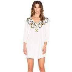 Antik Batik Tekoa Caftan Dresses ($286) ❤ liked on Polyvore featuring dresses, white caftan, viscose dress, white rayon dress, embroidered kaftan dress and embroidered rayon dress