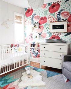 Deep coral, aqua and navy floral watercolor wallpaper in nursery #nurseryideas #wallpaper