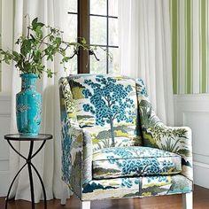 Enjoying this ode to #70's #pattern play thanks @thibaut_1886...how about you? #wynterinteriorsinc #charmainewynterinteriors #texas #dallas #southlake #interiordesign #homedecor #mix #livingwell #southernliving #traditional #retro #blue #green #chair #like4follow #interiorstx #instagram #instagram #decor #wallpaper #stripes #thursday #IADD #BFID #SOUNDCLOUD