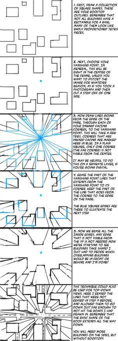 One Point Perspective City tut by ~Swingerzetta on deviantART: