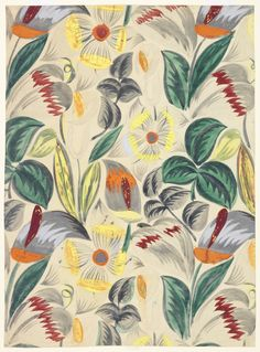 """Raoul Dufy - Bianchini Ferier, Inc.  manufacturer Drawing, """"Textile Design:  Tropical Flowrs"""", 1912–13 This is a drawing from France. It is dated 1912–13 and we acquired it in 1985."""