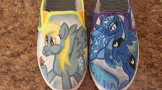 Love My Little Pony? Then you'll love these shoes. These canvas slip-on shoes are hand painted by Ria. My Little Pony Shoes, Canvas Slip On Shoes, Size 9 Shoes, Mlp, Free Gifts, Hand Painted, Horses, Sneakers, Crafts
