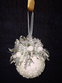 Items similar to Snowy White Christmas Kissing Ball on Etsy. , via Etsy. Beaded Christmas Ornaments, Noel Christmas, Pink Christmas, Homemade Christmas, Christmas Wreaths, Christmas Bulbs, Christmas Decorations, Victorian Christmas, Etsy Christmas