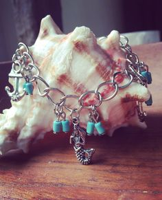 Silver Mermaid Charm Bracelet Anchor Charm by RedSilentWolfJewelry