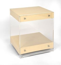 "LUCY SIDE TABLE with SHELF  Dimensions: 26""h x 21""w x 21""d Custom Sizing Available Made in the USA"