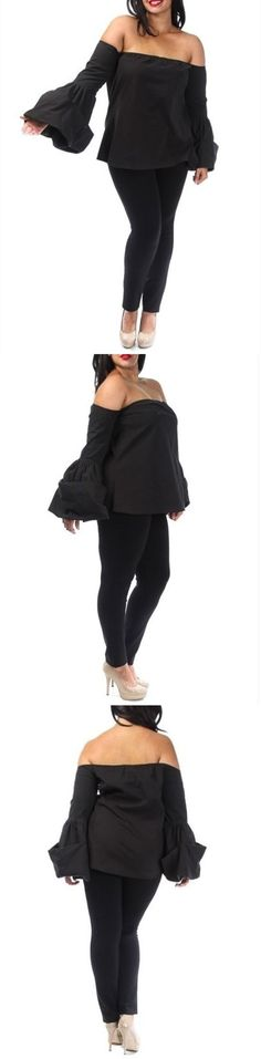 Women Fashion: Plus Size Black Off Shoulder Puff Bell Sleeve Crop Shirt Top Blouse -> BUY IT NOW ONLY: $39.95 on eBay!