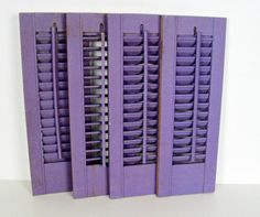 vintage wooden hurricane shutter panels - lilac - cottage style - 7 x 20 - set of 4 for 32.00 (2 sets in stock)
