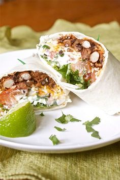 Spicy Bean Burritos by Smells Like Home. These sound amazing & could be turned into enchiladas. Healthy Mexican Recipes, Vegetarian Recipes, Cooking Recipes, Vegetarian Burrito, Vegan Meals, Cooking Tips, Quesadillas, Tostadas, Enchiladas
