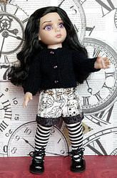~KaTTy~..a unique,handknitted sweater & shorts set for Tonner Patsy, Ann Estelle, Sophie, Georgia, or Half Pint dolls. Newly created in bold black and white tones and ONLY on my website now. Click on the picture to take you to buy it right away. www.karmelapples.com SOLD