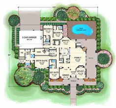European Style House Plans - 4536 Square Foot Home, 1 Story, 4 Bedroom and 4 3 Bath, 3 Garage Stalls by Monster House Plans - Plan 63-302