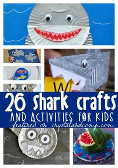 Awesome shark crafts for kids. Awesome shark crafts for kids. Shark Activities, Kids Learning Activities, Vocabulary Activities, Art For Kids, Crafts For Kids, Preschool Crafts, Shark Craft, Under The Sea Theme, Ocean Crafts