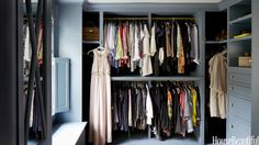 Paint your bedroom closet a favorite color, like designer Jeannette Whitson did in her Nashville, Tennessee, house. Instead of the usual chrome rods and white backdrop, Whitson gave her closet a more luxurious look by painting it Benjamin Moore's Blue Dusk and hanging her clothes on brass rods.
