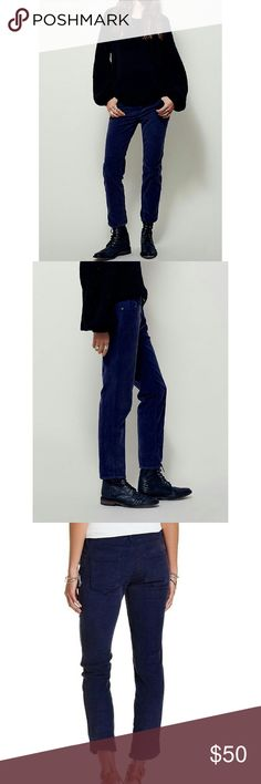 """Free People Roller Skinny Corduroys Low-rise cropped skinnies with a slightly stretchy fit and a washed cord fabric. Five- pocket style with a zip fly and button closure. Color Dark Peacock Free People  98% Cotton  Rise: 8.5""""  Inseam: 27.0"""" Free People Pants Ankle & Cropped"""