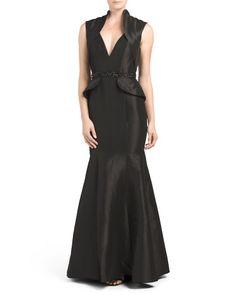 V-Neck+Beaded+Waist+Gown