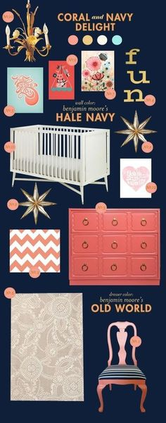 Coral and Navy Delight baby room inspiration board. add your light grey and you have it!