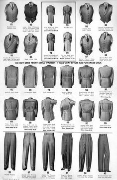 Bi-swing half-belted suit jackets mens wear vest pants jacket coat chart print ad catalogue Source by RetroVS clothes ideas Der Gentleman, Gentleman Style, Historical Costume, Historical Clothing, Men's Clothing, Vintage Stil, Vintage Men, Costume Année 30, 1930s Fashion