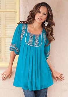 Mirielle Embellished Tunic by Denim 24/7 at Roman's.  This looks like a great top for the warmer weather.