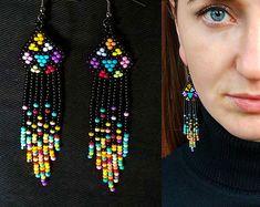 Black Native American Style Dangle Bead Earrings, Native American Style Bead Earring, Native American Style Big Earring
