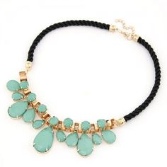 Waterdrop Attached Metallic Rope Mix Style Necklace - Teal