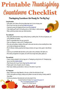 Free printable Thanksgiving countdown planner and checklist to get ready for the big day, courtesy of Household Management 101 (Christmas Dinner Checklist) Thanksgiving Countdown, Thanksgiving Projects, Thanksgiving Parties, Thanksgiving Recipes, Hosting Thanksgiving, Happy Thanksgiving, Free Printables, How To Plan, Management