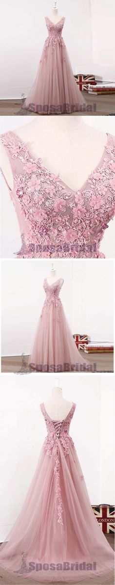 Pink Lovely Tulle and Lace Appliques Elegant V Neck Lace Up Back Prom Dresses, Evening dresses, PD0581