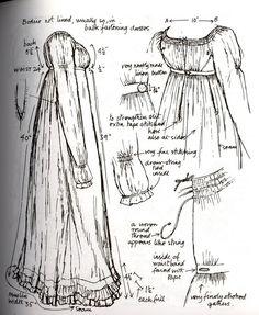 Regency From Nancy Bradford's Costume in Detail Vintage Patterns, Vintage Sewing, Sewing Patterns, Regency Dress, Regency Era, Historical Costume, Historical Clothing, Jane Austen, Patron Vintage