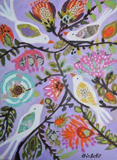 Birds Flowers  painting Bohemian original by karenfieldsgallery, $55.00