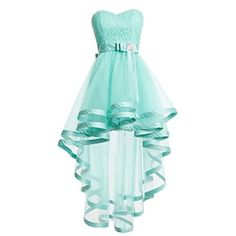 Dresstells Women's Tulle High Low Homecoming Dress Lace Prom Dress ($80) ❤ liked on Polyvore featuring dresses, homecoming dresses, high-low dresses, blue dress, lace dress and hi low prom dresses