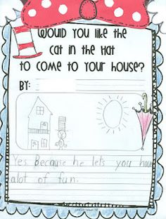 "Dr. Suess' Cat in the Hat ""Would you like the Cat in the Hat to come to your house?"" writing prompt"