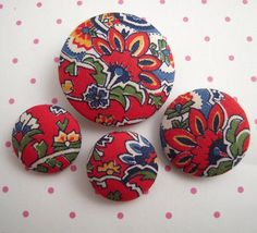 Vintage French Paisley Fabric Covered Buttons
