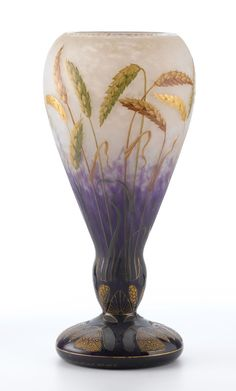 """DAUM. An Enameled and Gilt-Decorated Glass """"Wheat"""" Vase, circa 1890s. Marks: gilt Daum Nancy with the Cross of Lorraine."""