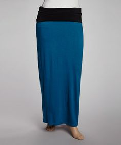 Take a look at this Teal & Black Fold-Over Maxi Skirt - Plus by GLAM on #zulily today!