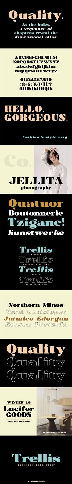 Trellis//Typeface Bold Serif is a wedge serif font that is sure to stand out! A little bit retro and a bit modern, Trellisis great for logos, editorial or web design. Best Serif Fonts, Otf Font, Web Design, Graphic Design, Uppercase And Lowercase, Punctuation, Trellis, Editorial, Retro